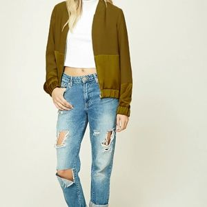 Forever 21 Contemporary Olive Green Bomber Jacket